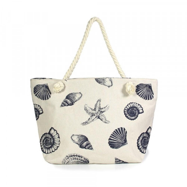"Seashell Canvas Tote Bag.  - Open lined inside with pockets - Zipper closure - Rope handles - Approximately 21"" W x 13"" T - Handles 11"" L - 35% Cotton, 65% Polyester"