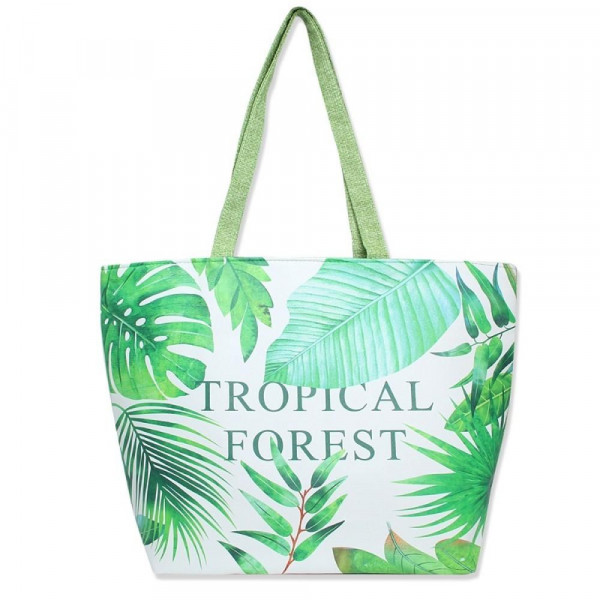 """Tropical printed tote bag with """"Tropical Forest"""" message with a top zipper closure and a lined inside with pockets. 50% PU leather and 50% linen. Measures 20"""" x 14"""" in size."""