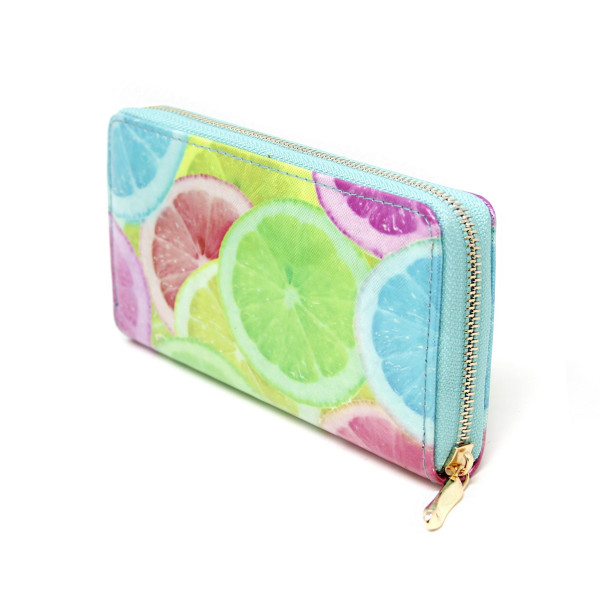"Multicolor Grapefruit Print Long Wallet.  - Zip around Closure - Full Bill, Card and Coin Departments - Approximately 7"" x 3""  - 100% PVC"