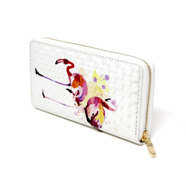 """Flamingo Print Long Wallet.  - Zip around Closure - Full Bill, Card and Coin Departments - Approximately 7"""" x 3""""  - 100% PVC"""