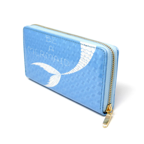 """Whale Print Long Wallet.  - Zip around Closure - Full Bill, Card and Coin Departments - Approximately 7"""" x 3""""  - 100% PVC"""