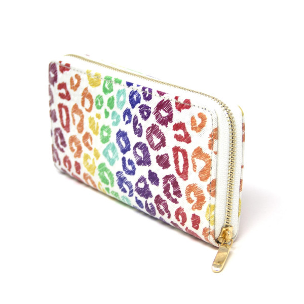 "Multicolor Leopard Print Long Wallet.  - Zip around Closure - Full Bill, Card and Coin Departments - Approximately 7"" x 3""  - 100% PVC"