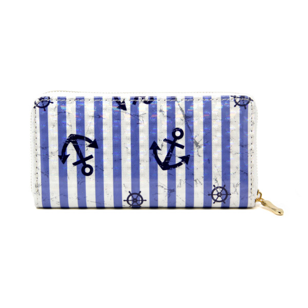 """Anchor Stripe Print Long Wallet.  - Zip around Closure - Full Bill, Card and Coin Departments - Approximately 7"""" x 3'  - 100% PVC"""