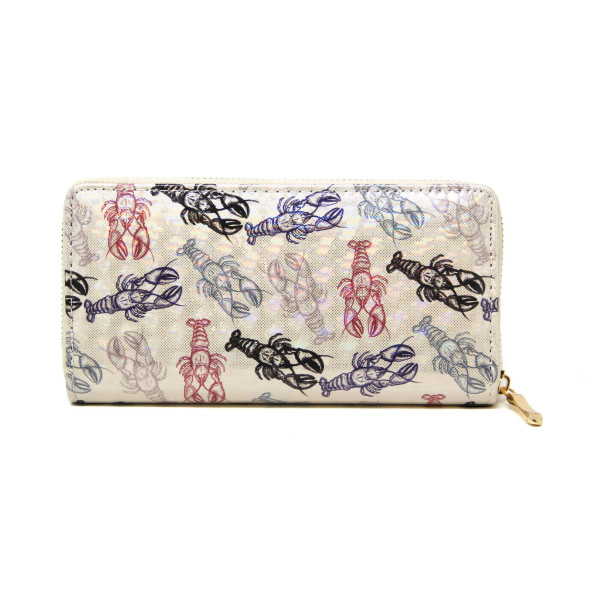 "Lobster Print Long Wallet.  - Zip around Closure - Full Bill, Card and Coin Departments - Approximately 7"" x 3'  - 100% PVC"
