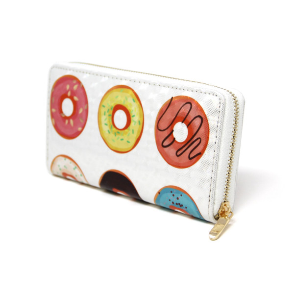 "Donut Print Long Wallet.  - Zip around Closure - Full Bill, Card and Coin Departments - Approximately 7"" x 3""  - 100% PVC"