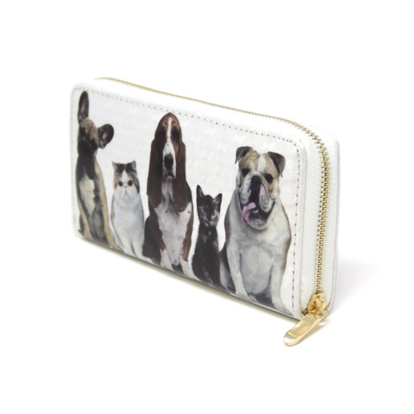 """Dog and Cat Print Long Wallet.  - Zip around Closure - Full Bill, Card and Coin Departments  - Approximately 7"""" x 3""""  - 100% PVC"""