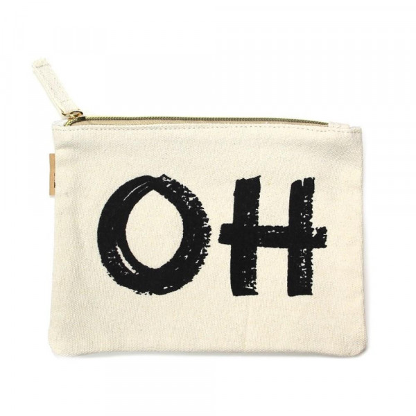 """""""OH"""" Canvas Travel Pouch.  - Open lined inside - Zipper closure - Approximately 7"""" W x 6"""" T  - 100% Cotton"""