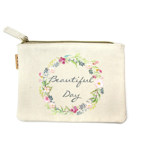 "Floral wreath ""Beautiful Day"" canvas travel pouch.  - Open lined inside, no pockets - Zipper closure - Approximately 7"" W x 6"" T - 100% Cotton"