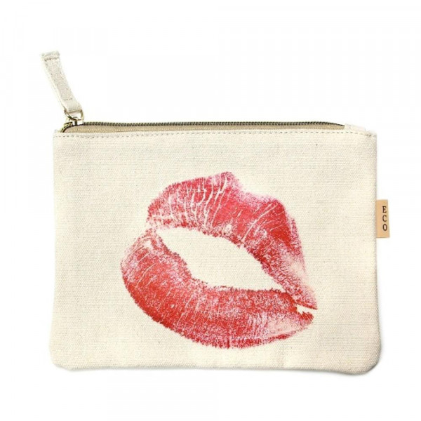 """XOXO Kiss canvas travel pouch.  - Open lined inside - Zipper closure - Approximately 7"""" W x 6"""" T  - 100% Cotton"""