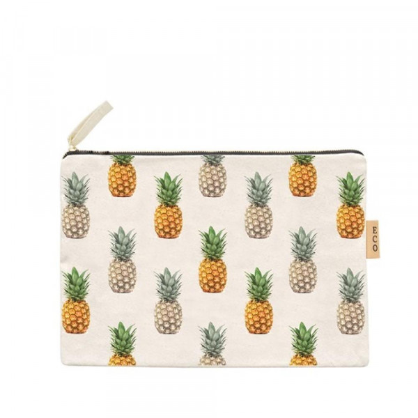 Wholesale pineapple canvas travel pouch Open lined inside Zipper closure W T Cot