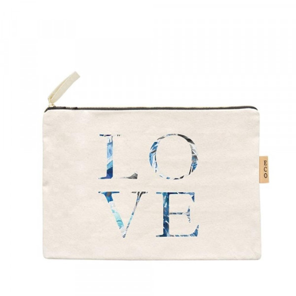 "Love Canvas Pouch.  - Open Inside; No Pockets  - Zipper closure - Approximately 7"" W x 6"" T - 100% Cotton"