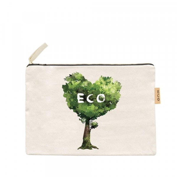 "Eco Friendly Canvas Pouch.  - Open Inside; No Pockets  - Zipper closure - Approximately 7"" W x 6"" T - 100% Cotton"