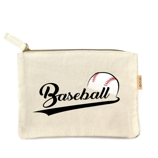 "Baseball canvas travel pouch.  - Open lined inside, no pockets - Zipper closure - Approximately 7"" W x 6"" T - 100% Cotton"