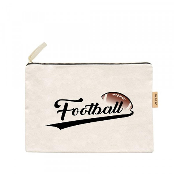 """Football Canvas Pouch.  - Open Inside; No Pockets  - Zipper closure - Approximately 7"""" W x 6"""" T - 100% Cotton"""
