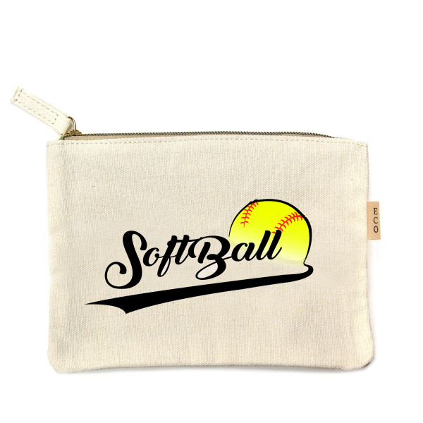 "Softball canvas travel pouch.  - Open lined inside, no pockets - Zipper closure - Approximately 7"" W x 6"" T - 100% Cotton"