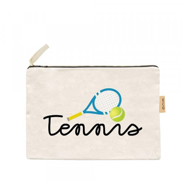 "Tennis Canvas Pouch.  - Open Inside; No Pockets  - Zipper closure - Approximately 7"" W x 6"" T - 100% Cotton"