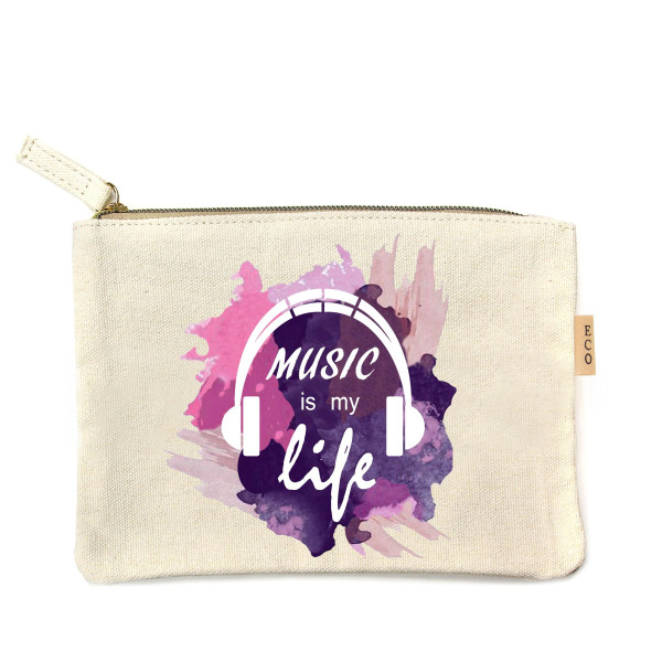 "Music is Life canvas travel pouch.  - Open lined inside, no pockets - Zipper closure - Approximately 7"" W x 6"" T - 100% Cotton"