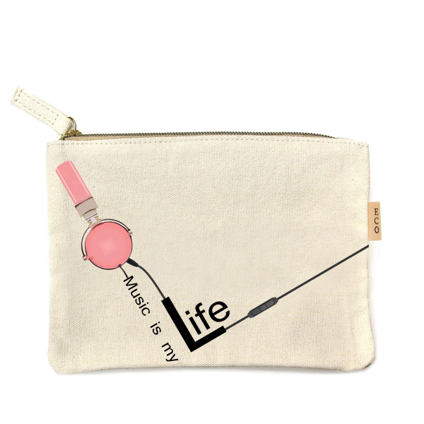 "Music is Life Canvas Pouch.  - Open Inside; No Pockets  - Zipper closure - Approximately 7"" W x 6"" T - 100% Cotton"