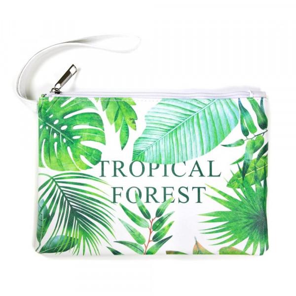 Wholesale faux leather pouch Tropical Forest message wristlet strap top zipper c