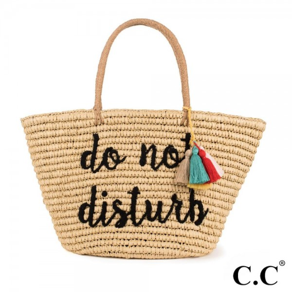 CC- BG2017- Do not disturb colorful tassels embroidered straw tote. 100% paper. One size. 20x14 in length.