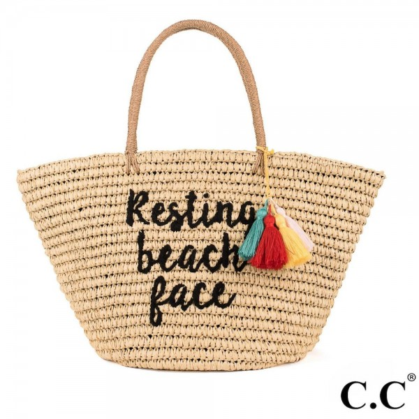 CC- BG2017- Resting beach face colorful tassels embroidered straw tote. 100% paper. One size. 20x14 in length.