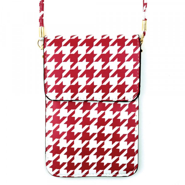 "Stripped print cross body bag with clear phone window. W: 7"" x L: 4.5"" with a 35"" strap."