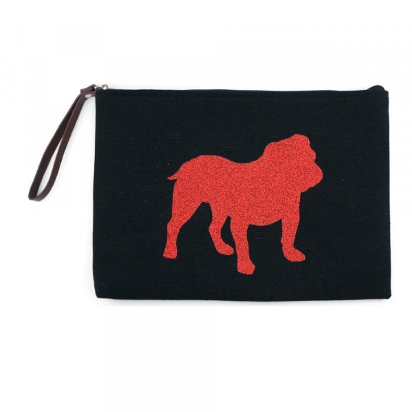 """Georgia clutch featuring a wristlet, lined inside with pocket and zipper closure. Approximately 7"""" x 10"""" in size.  - Composition: 60% Cotton, 40% Polyester"""