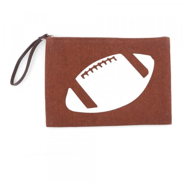 Wholesale football clutch wristlet lined inside pocket zipper closure Compositio
