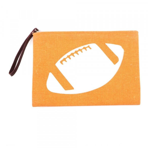 Wholesale football clutch wristlet lined inside pocket zipper closure Compositio
