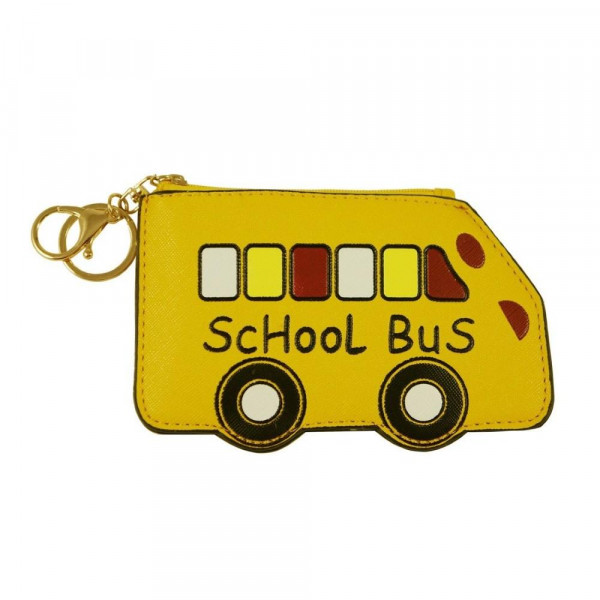 """Faux Leather School Bus Zipper Coin Pouch with Clear Pocket.  - Zipper Closure - Clear Pocket - Approximately 3.5"""" W x 6"""" L - 100% PU"""