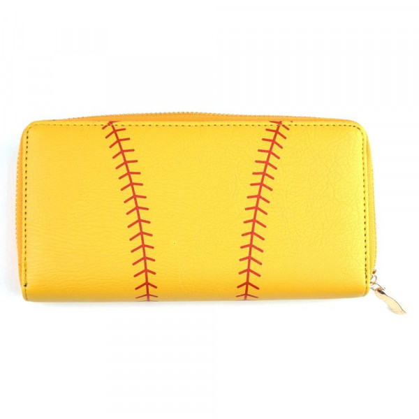 "Faux leather softball long wallet featuring a zipper coin pouch, full-bill and card compartments with zip around closure.  - Approximately 7.5"" W x 4"" T - 100% PU"