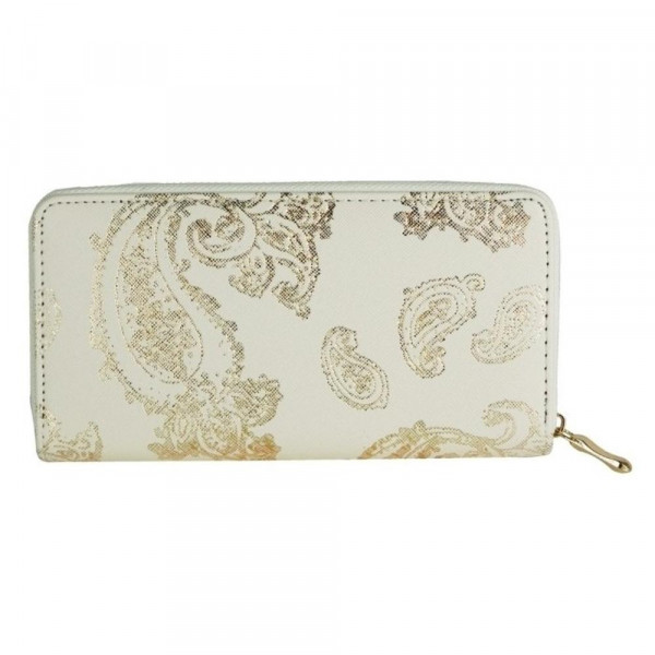 """Faux Leather Metallic Paisley Print Long Wallet.  - Zip Around Closure - Full Bill, Card and Coin Compartments - Approximately 7.5"""" x 4"""" in Size"""