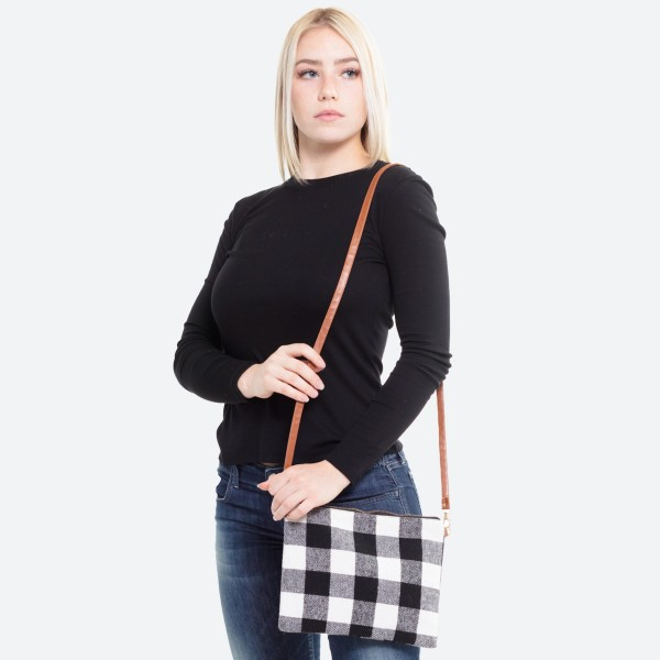 "Buffalo Check Handbag.  - Zipper Closure - Open Lined Inside - No Pockets - Approximately 10"" W x 8"" H - 100% Polyester"