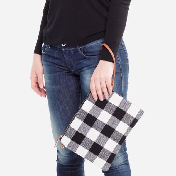 "Buffalo Check Handbag.  - Zipper Closure - Open Lined Inside - No Pockets - Approximately 10"" W x 8"" H - 100% Polyester"