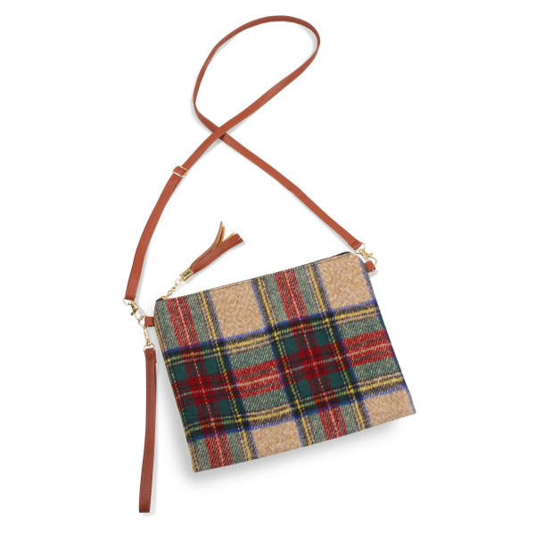 "Tartan crossbody/clutch bag featuring a lined inside pocket detail and zipper closure.  - Approximately 11"" W x 8.5"" H - 100% Polyester"