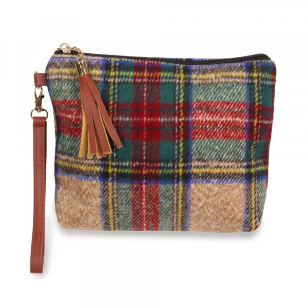 """Plaid pouch bag with zipper closure tassel detail and detachable wristlet.  - Approximately 9"""" W x 6.5"""" H - 100% Polyester"""