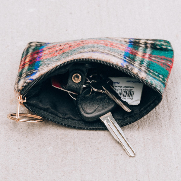 """Tartan coin/card pouch.  - Approximately 5.5"""" W x 4 """"H - 100% Polyester"""