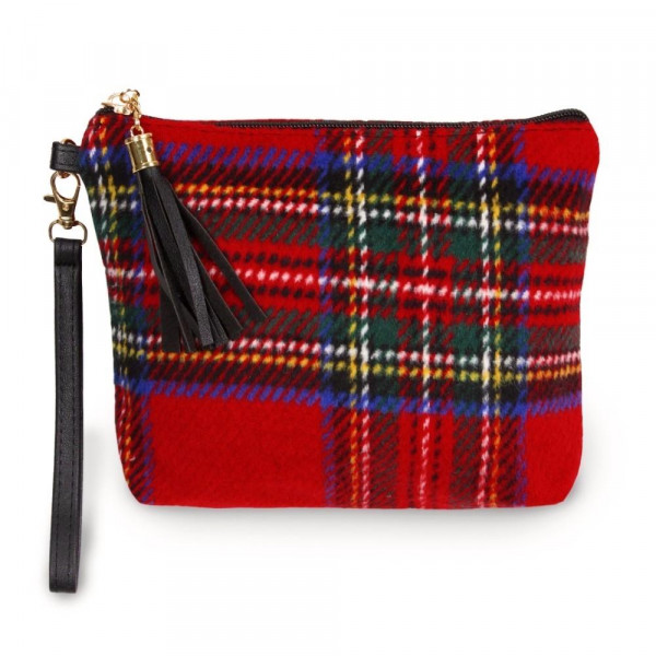 "Plaid pouch bag with zipper closure tassel detail and detachable wristlet.  - Approximately 9"" W x 6.5"" H - 100% Polyester"