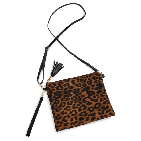 "Cheetah Print Tassel Handbag.  - Zipper Closure - Open Lined Inside - 2 Functional Pockets - Detachable Faux Leather Strap - Approximately 10"" L x 8"" W"
