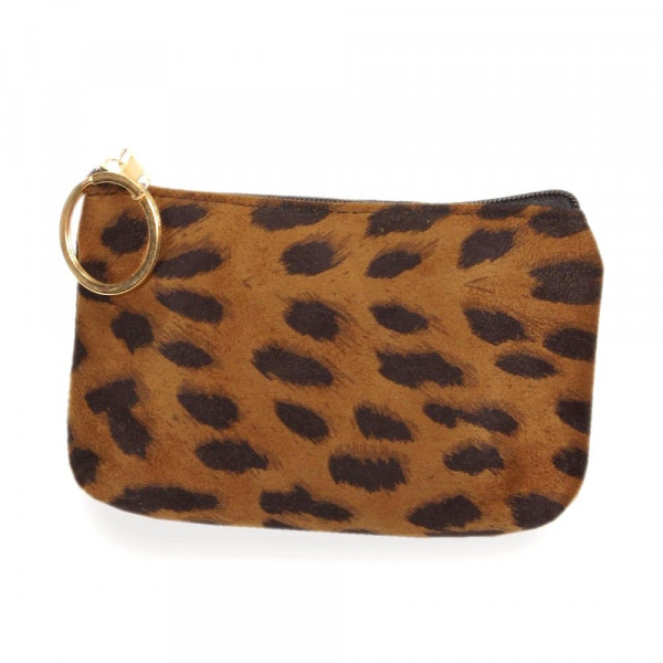 "Leopard print card/coin pouch.  - Approximately 5.5"" W x 4"" H - 100% Polyester"