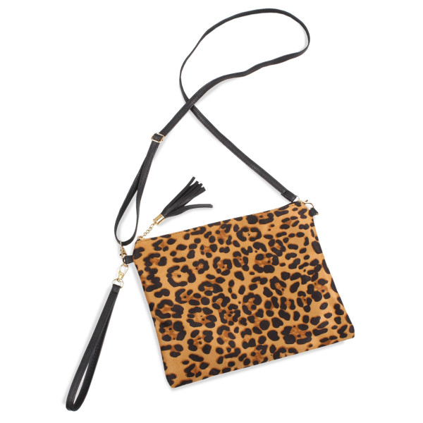 "Leopard Print Tassel Handbag.  - Zipper Closure - Open Lined Inside - 2 Functional Pockets - Detachable Faux Leather Strap - Approximately 10"" L x 8"" W"