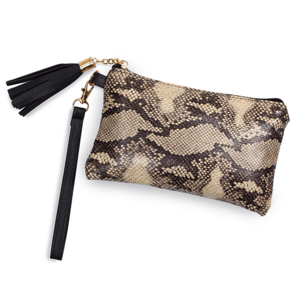 "Snakeskin Tassel Wristlet.  - Zipper Closure - Open Lined Inside  - No Pockets - Detachable Wristlet - Approximately 7"" x  5""  - 100% Polyester"