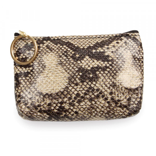"Snakeskin Print Zipper Coin Pouch.  - Zipper Closure - Open Lined Inside  - Fits Card & Coins - Approximately 5"" x  4"""