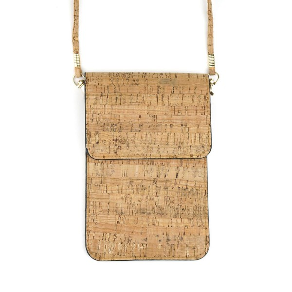 "Faux Cork Cell Phone Crossbody.  - Removable Strap - Faux Cork  - Clear Back Pocket - Easy to Operate Touch-Screen Function - Approximately 7"" T x 4.5"" W"