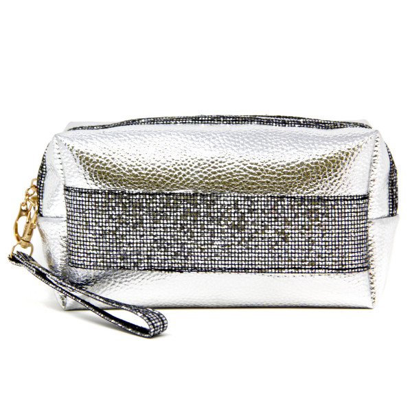 "Metallic faux leather cosmetic/travel pouch with detachable wristlet.  - Open lined inside, no pockets - Zipper closure - Detachable wristlet 6"" L - Approximately 9"" W x 4"" T - 60% PVC, 40% PU"