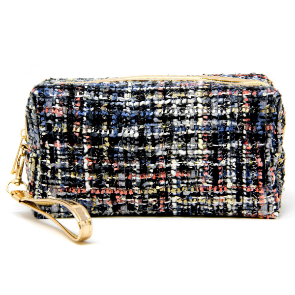 Wholesale tweed cosmetic travel pouch detachable wristlet Open lined inside no p