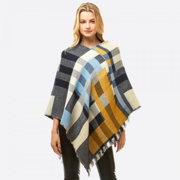 """Women's Multicolor Plaid Print Poncho.  - One size fits most 0-14 - Approximately 37"""" L - 100% Acrylic"""