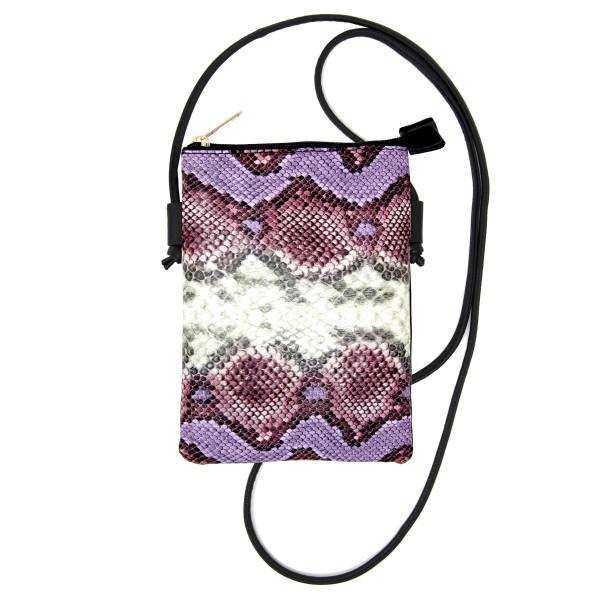 "Faux Leather Snakeskin Cellphone Crossbody.  - Zipper Closure - No inside pockets - One outside pocket - Approximately 6"" W x 8"" T  - 100% PU"