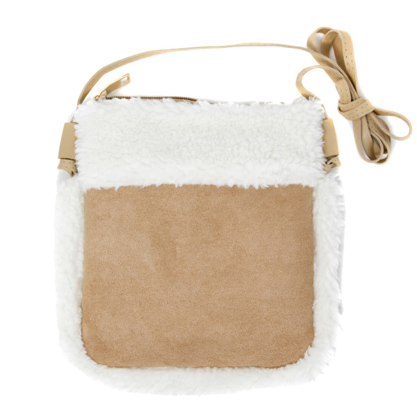 """Faux Suede Sherpa Trim Crossbody.  - Zipper closure - No Pockets - Approximately 6"""" W x 8"""" T - 100% Polyester"""