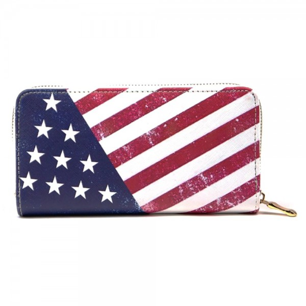 "Faux leather American flag wallet featuring a zipper coin pouch, full-bill and card compartments with zip around closure.  - Approximately 7.5"" W x 4"" T - 100% PU"